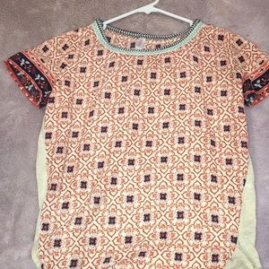 Printed blousy top with t shirt detail on back